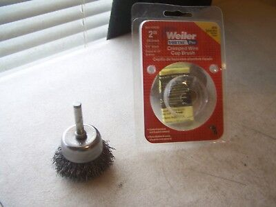 "Weiler 36029 Size 2"" Crimped Wire Cup Brush 1/4"" Shank Coarse Wire New"