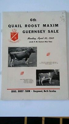 1945 QUAIL ROOST MAXIM GUERNSEY Cattle Cow Sale Catalog Auction in ROUGEMONT, NC