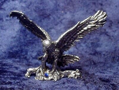 Pewter Eagle Accented with Blue Crystal
