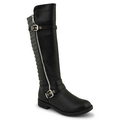 Womens Ladies Low Flat Heel Knee High Boots Black Zipped Shoe Size 3:9