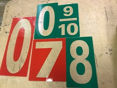 Conoco Gas station price numbers. Red or Green reverse. Various sizes.