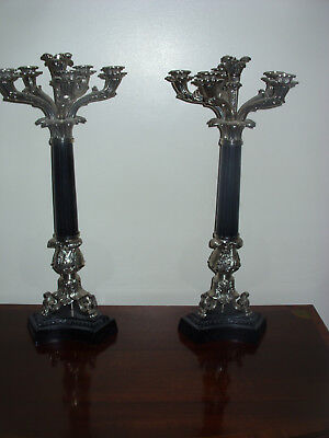 A Large Pair Of Silver Plated And Ebony Six Branch Candelabra