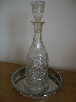 An Engraved Silver Plated Tray With A Crystal Whiskey Decanter.
