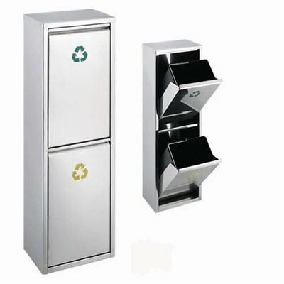 Evre 30 Litres Large Recycling Bin Stainless Steel Brushed & Multi Compartments
