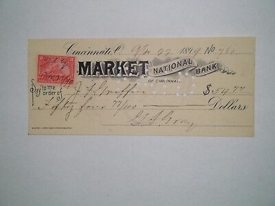 Market National Bank of Cincinnati. Apr. 22, 1899. Cinn. Ohio. George A. Gray