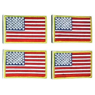 USA Flag Embroidered Cloth Emblem Applique Golden Yellow Border Sew Iron Patch