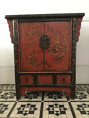 antique chinese sideboard/cabinet red and gold detailing