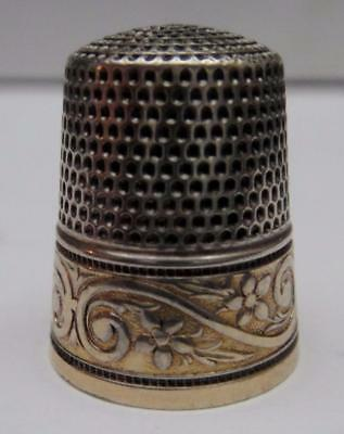 Antique Simons Sterling Silver Sewing THIMBLE with Wide Floral Gilded Band