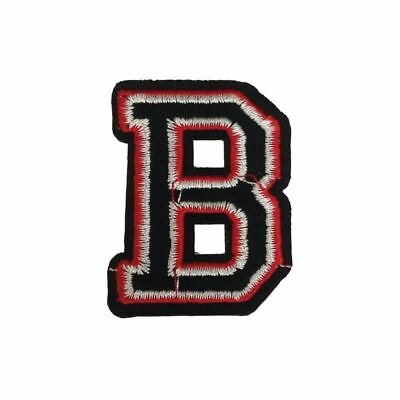 B Letter Black Red (Iron On) Embroidery Applique Patch Sew Iron Badge