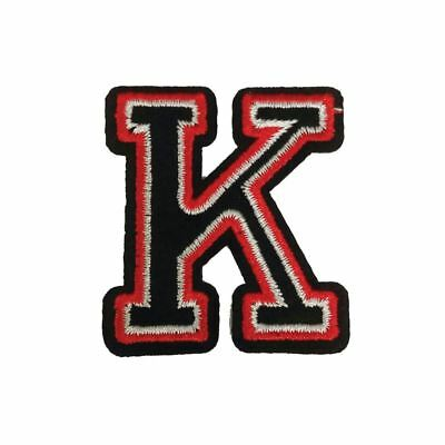 K Letter Black Red (Iron On) Embroidery Applique Patch Sew Iron Badge