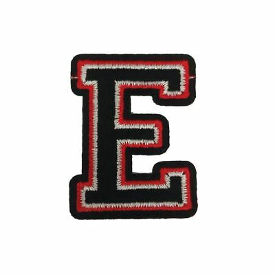 E Letter Black Red (Iron On) Embroidery Applique Patch Sew Iron Badge