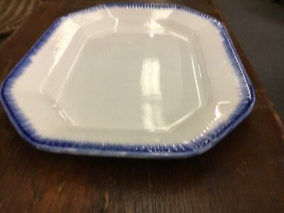 Antique C1830 16In By 12In  Leeds Platter With Blue Feathers  English Ironstone