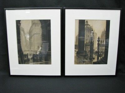 Pair 20th Century Charcoal Drawings By Edward Chrystie;New York Scenes 1887-1960