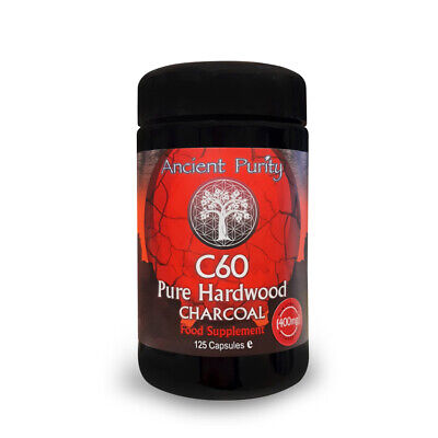 C60 Pure Hardwood Charcoal (125 Caps) Digestion Support