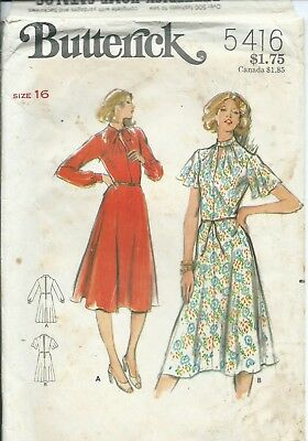 B 5416 sewing pattern 70's trendy DRESS flared or long sleeves sew size 16 UNCUT