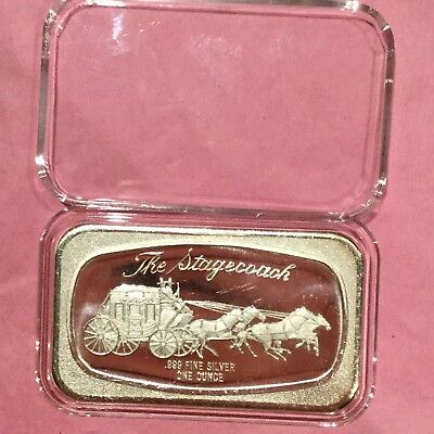 The Stagecoach Collectible Vintage Bar 1 Troy Oz .999 Fine Silver Ingot Medal