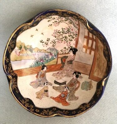 ANTIQUE JAPANESE SATSUMA BOWL signed character mark meiji hand painted pottery