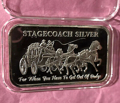 Stagecoach Divisible Collectible Bar 1 Troy Oz .999 Fine Pure Silver Ingot Medal
