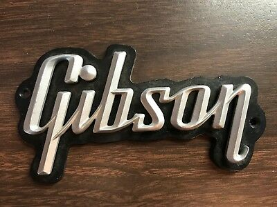 """Vintage Gibson Guitar Plastic Sign Placard 4 1/2"""" Long"""