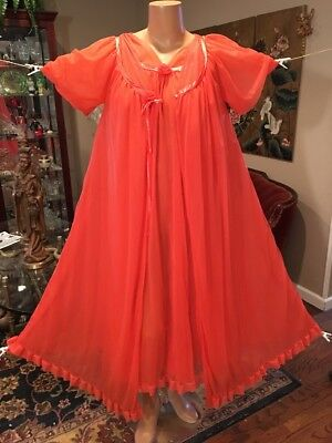 Vintage Jenelle Red 4 Lyr Chiffon Nightgown Robe Large XL 1X Sissy Diva 46 Bust