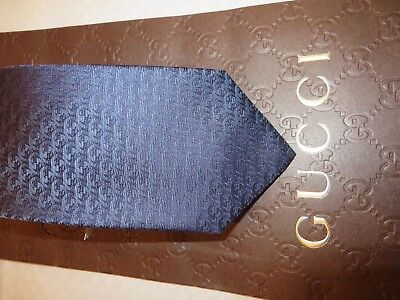 NEW  TAG 100% Authentic GUCCI GG seta Silk Men's Tie / With Gucci Gift bag