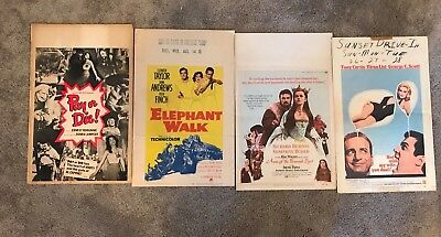 Lot of 4 Original Vintage Window Card Movie Posters! 1950s - 1980s