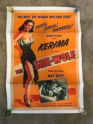 The She Wolf Original Vintage 27x41 One Sheet Movie Poster! Linen Backed