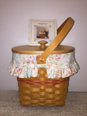 Longaberger 2001 Mother's Day Vintage Blossom Basket Combo Liner, Lid and Book