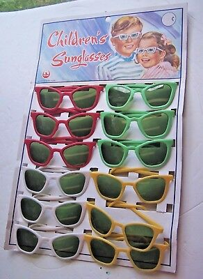 Vintage Childrens Sunglasses Original Display Board 12 Pair Cathay New Old Stock