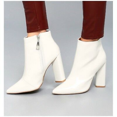 Qupid MISS-14 Mod White Faux Patent Leather Pointy Toe Chunky Heel Ankle Boot