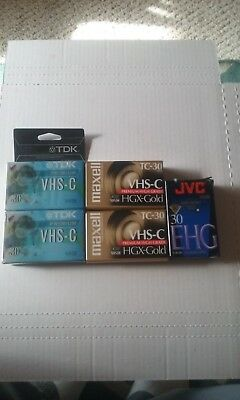 Lot of 5 New Blank VHSC Tapes Maxell TDK JVC with Cassette Adapter Sealed