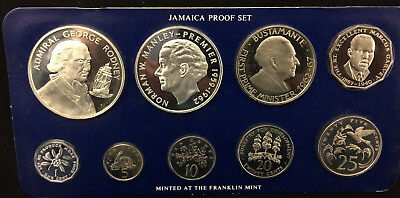 1977 JAMAICA PROOF SET 9 Coins 1.87 ozt ASW
