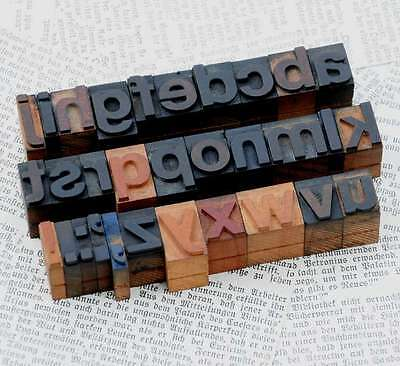 "a-z alphabet 0.71"" letterpress wooden printing blocks wood type old characters"