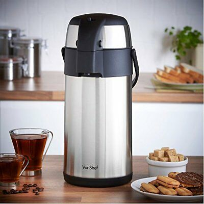 Thermal Airpot Beverage Dispenser Carafe Thermos Lever Action Stainless Steel 3L