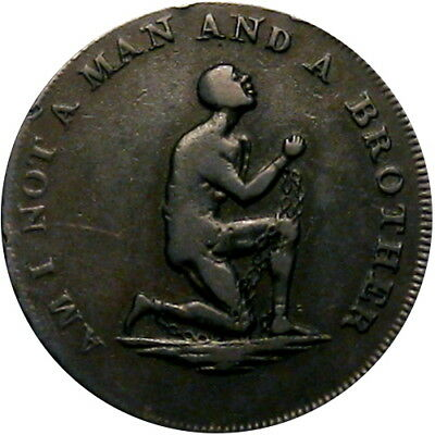1790's Am I Not A Man And A Brother Anti Slavery English Half Penny Token