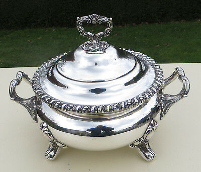 "Antique 19th C ""Old Sheffield Plate"" Silver Plated Copper Large Soup Tureen"