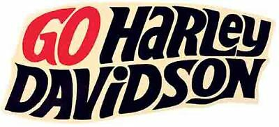 """ Go Harley Davidson "" motorcycle   Vintage Style 1950's Travel Decal Sticker"