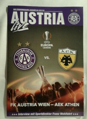 Programme For Collectors: Austria Wien - Aek Athens Europa League 07/12/17