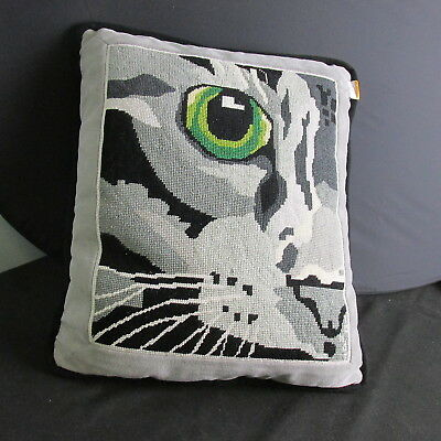 SV- vintage gray Cat's eye needlepoint pillow abstract