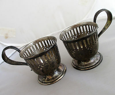 Simpson Hall & Miller Sterling Silver Pair Reticulated Demitasse Cup Holders 66g