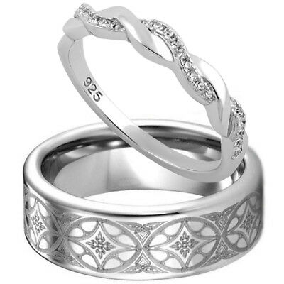 Tungsten Celtic Band 925 Sterling Silver Twisted CZ Wedding Anniversary Ring Set