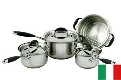 Essteele Australis - Set of 4 Copper Based Saucepans and Steamer (Made in Italy)
