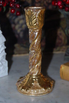 Wonderful Vintage Ceramic French Style Candelabra Hand Painted In Browns  & Gold