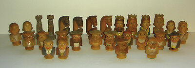 28 Antique Hand Carved Figural Chess Pieces Anri?