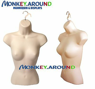 New 1 Female Mannequin Flesh Torso Form +1 Hook - Display Clothing Dress Shirt
