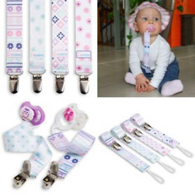 Liname Pacifier Clip for Girls - 4 Pack - Premium Quality & Modern 2-Sided - Fit