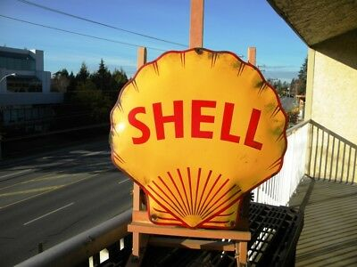 "XL SHELL OLD PORCELAIN SIGN ~18"" x 17-1/2"" OIL PUMP GAS STATION ADVERTISING LUBE"