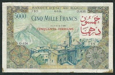 Morocco 1953 Five Thousand Francs Banknote  #2991 Low Price & Free Usa Ship