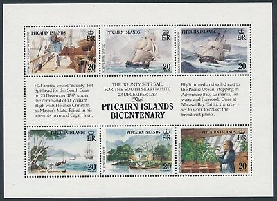 1989 PITCAIRN ISLANDS BICENTENARY MINI SHEET 1st ISSUE MINT MNH/MUH