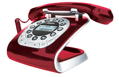 UNIDEN MODRO 15- Retro Style Digital Corded Phone- Vintage Design- RED